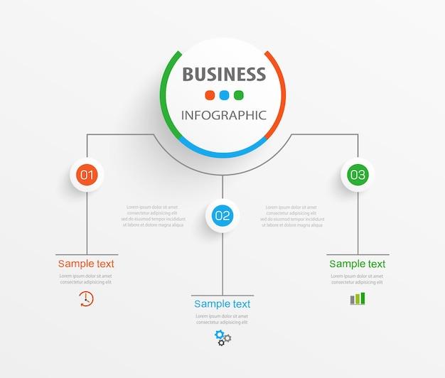 Modelo de design de infográfico de negócios com 3 opções