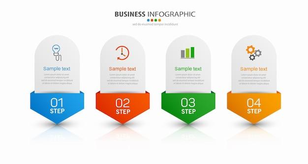 Modelo de design de infográfico de negócios com 4 etapas