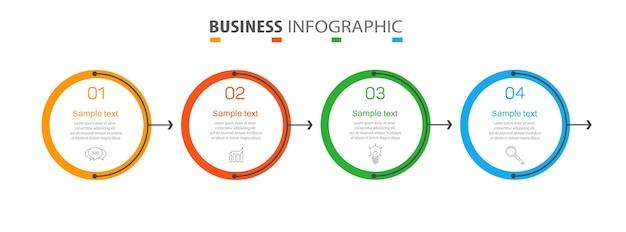 Modelo de design de infográfico de negócios com 4 opções ou etapas