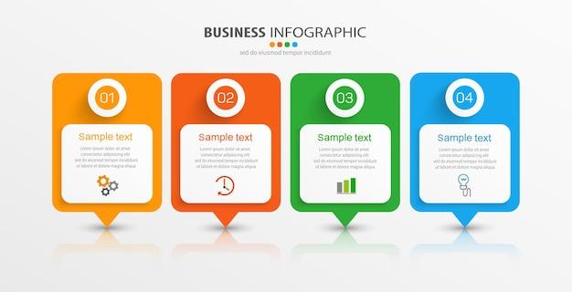 Modelo de design de infográfico de negócios com 4 opções