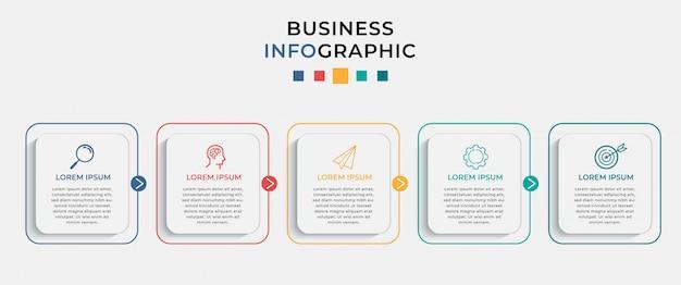 Modelo de design de infográfico de negócios com 5 opções ou etapas