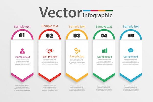 Modelo de design de infográfico de negócios com cinco opções ou etapas