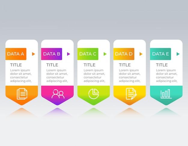 Modelo de design de infográfico de negócios com dados de 5 opções