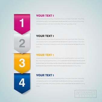 Modelo de design de infográfico de negócios com elemento de etapas de seta