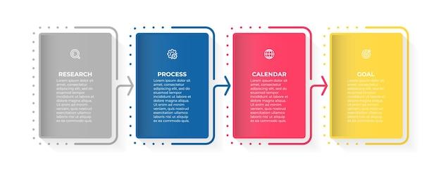 Modelo de design de infográfico de negócios com ícones e 4 opções