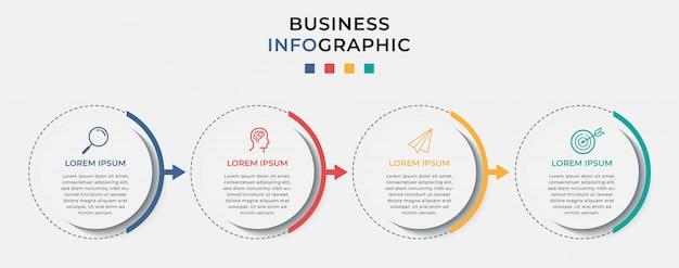 Modelo de design de infográfico de negócios com ícones e 4 quatro opções ou etapas.