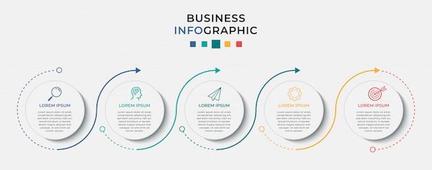 Modelo de design de infográfico de negócios com ícones e 5 cinco opções ou etapas.