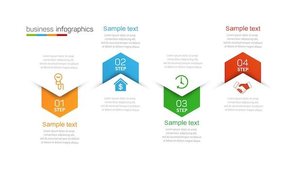 Modelo de design de infográfico de negócios com opções e 4 etapas