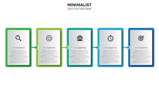 Modelo de design de infográfico de negócios quadrados