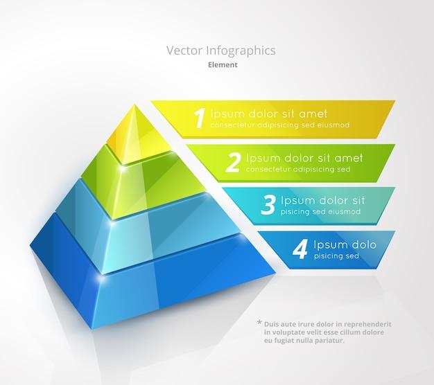 Modelo de design de infográfico de pirâmide