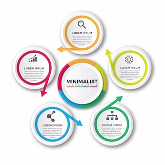 Modelo de design de infográfico de setas circulares