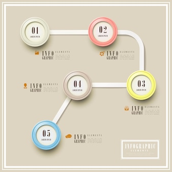 Modelo de design de infográfico de simplicidade com elementos circulares