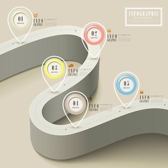 Modelo de design de infográfico de simplicidade com estrada estendida