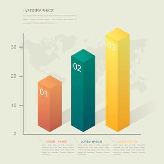 Modelo de design de infográfico de simplicidade com gráfico de barras isométrico 3d