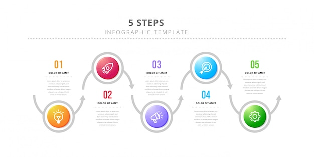Modelo de design de infográfico de vetor com fluxo de trabalho de 6 etapas