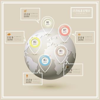 Modelo de design de infográfico elegante com globo e elemento geométrico