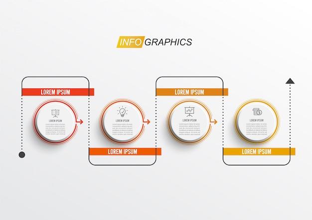 Modelo de design de infográfico mínimo de linha fina com 4 opções ou etapas