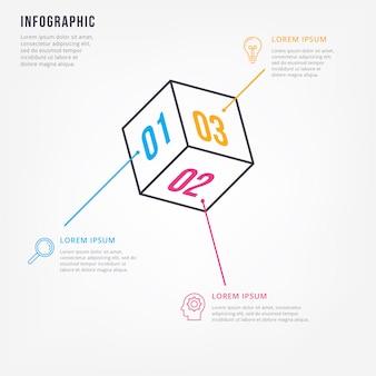 Modelo de design de infográfico mínimo de linha fina