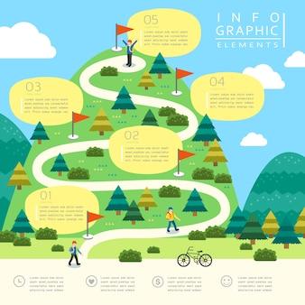Modelo de design de infográfico para caminhadas na montanha em estilo simples