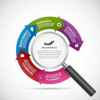 Modelo de design de infográficos abstratos.