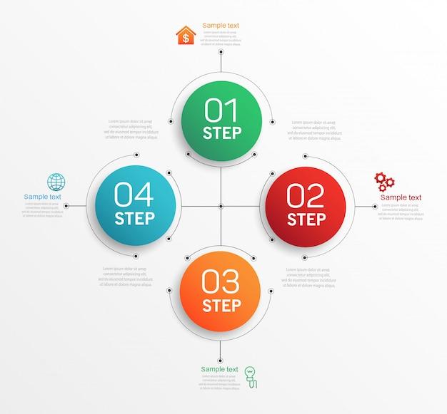 Modelo de design de infográficos com 4 opções