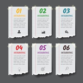 Modelo de design de infográficos com estilo de papel rasgado.