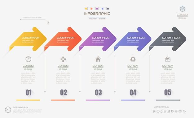 Modelo de design de infográficos com ícones, diagrama de processo