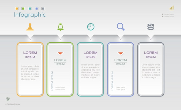 Modelo de design de infográficos com ícones