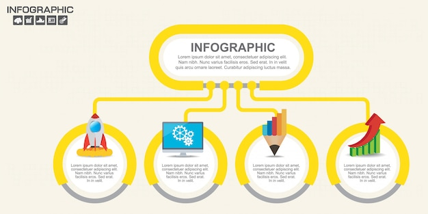 Modelo de design de infográficos com opções, diagrama de processo.
