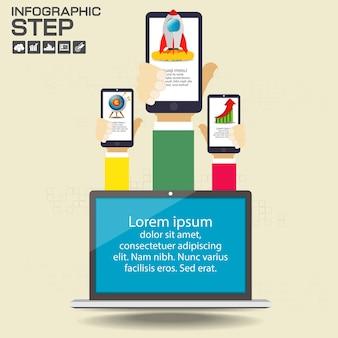 Modelo de design de infográficos com opções, diagrama de processo
