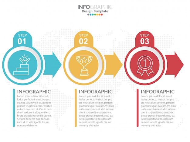Modelo de design de infográficos com opções.