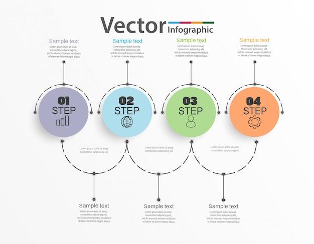 Modelo de design de infográficos, conceito de contorno com 4 etapas ou opções