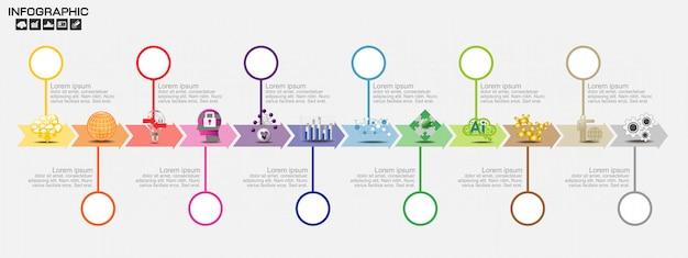 Modelo de design de infográficos de cronograma com opções, diagrama de processo
