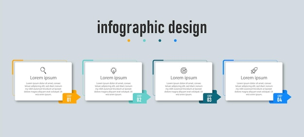 Modelo de design de infográficos de cronograma de etapas do elemento