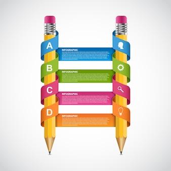 Modelo de design de infográficos de educação.