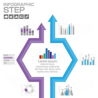 Modelo de design de infográficos de linha do tempo com 5 opções, diagrama de processo