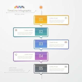 Modelo de design de infográficos de linha do tempo com ícones