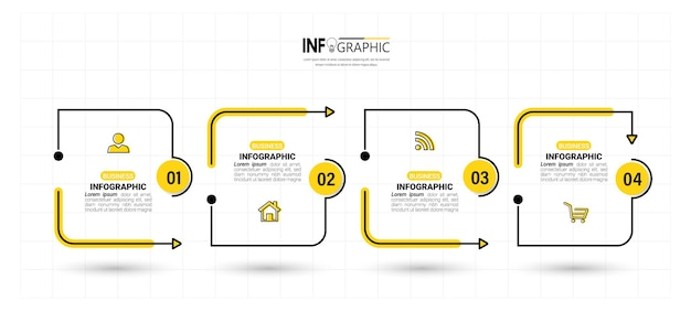 Modelo de design de infográficos de linha do tempo de 4 etapas