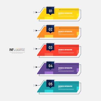Modelo de design de infográficos de linha do tempo de 5 etapas