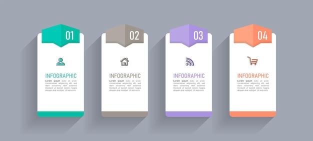 Modelo de design de infográficos de linha do tempo de quatro etapas
