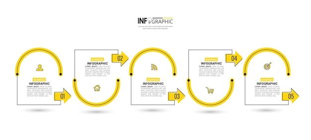 Modelo de design de infográficos de linha do tempo