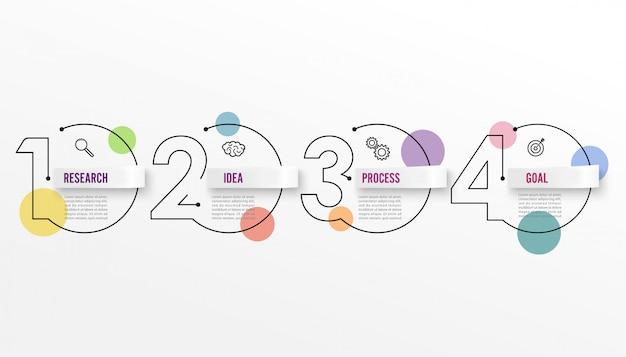 Modelo de design de infográficos de linha fina quatro opções
