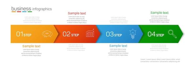 Modelo de design de infográficos de negócios com 4 opções