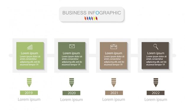 Modelo de design de infográficos de negócios. linha do tempo com 4 passos
