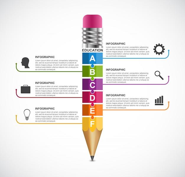 Modelo de design de infográficos de opção de lápis de educação.