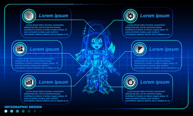 Modelo de design de infográficos robóticos.