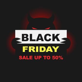 Modelo de design de inscrição de venda de diabo black friday ilustração vetorial de banner black friday