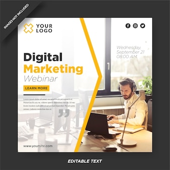 Modelo de design de instagram de webinar de marketing digital