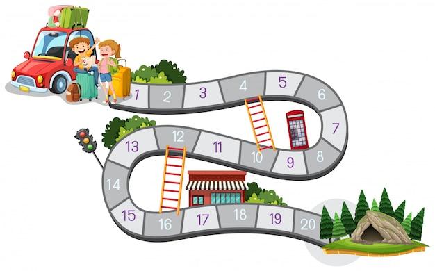 Modelo de design de jogo de tabuleiro com viagem em família para a montanha