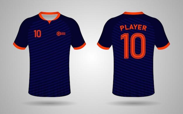 Modelo de design de kit de futebol de cor azul e laranja escuro